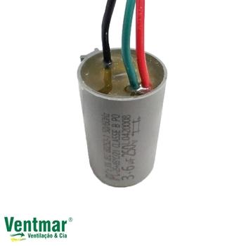 Capacitor para Ventilador de Teto Aliseu 127v 09,0uF 3,0+6,0mF 250Vac 3Fios - Capacitor p/Ventilador Spirit 127V 3Velocidades