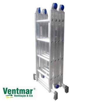 Escada de Alumínio 16 Degraus Articulada - 4x4 Multifuncional 10x1 - Real Escada de Alumínio Articulada de16 Degraus 4x4 10em1