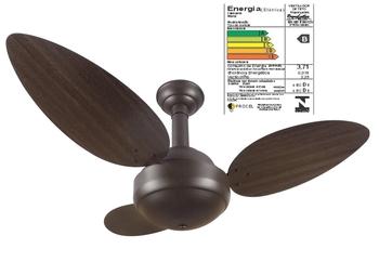 Ventilador de Teto RioPreLustres Commerce Colonial 1057 127v 120w Marrom Texturizado 3Pas Focus Tabaco