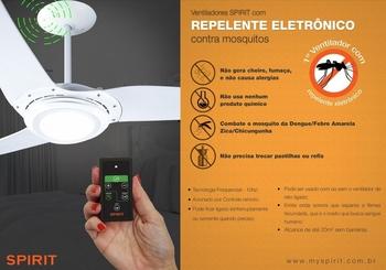 Ventilador de Teto Spirit 3Pás Cristal 127v Mod.303 c/Luz LED Controle Remoto c/Disp.Repelente à Mos