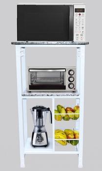 Suporte Multiuso Fruteira Desmontavel Premium Utilar Metal Branco c/Tampo Granito 72cm - Medidas A12