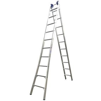 Escada de Alumínio 10 Degraus Extensiva - Escada Extensiva de 10 Degraus - Escada Profissional 4 em 1