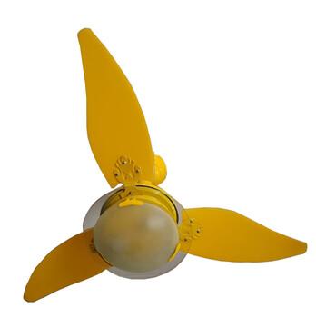 Ventilador de Teto RioPreLustres Noble Amarelo 3Pás ABS Amarelas 12v Chave 3Vel Luminária em Vidro T
