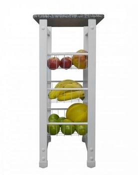 Fruteira Desmontavel em Metal Branca c/Tampo de Granito 45cm - Medidas A810 x L400 x P290mm - Peso 1