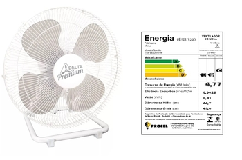 Ventilador de Mesa 50cm Venti-Delta Premium Bivolts 170w - Branco Grade Metal Hélice 4Pás - Ventilador de Mesa Delta Premium c/Controle de Velocidade