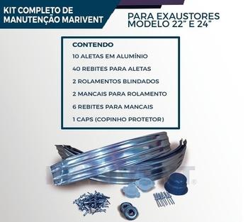 Kit Reparo para Manutenção de Exaustor Eólico 22 - Diâmetro 22 Polegadas - Kit Manutenção Marivent