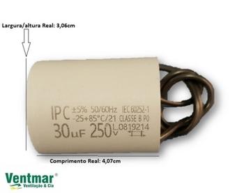 Capacitor para Portão Eletrônico - Capacitor Fixo de Prolipr. 50/60HZ 30,0X250 30,0uF 2Fios 250VAC c/Cabo Para Motor Elétrico - Motor Portão de Elevaç