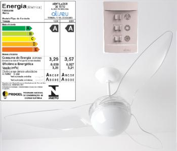 Ventilador de Teto Aliseu Terral 127v Cristal Chave 3 Vel Luminária p/2 Lâmpadas - Motor 150w - VTAL