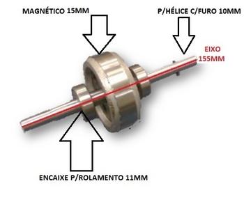 Rotor Ventilador Arge Max 50cm - Encaixe da Hélice 10mm - Encaixe p/Rolamentos 6201 11mm + Pino Trav