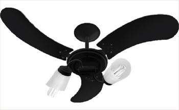 Ventilador de Teto Spot Delta NL Preto com 3 pás de Madeira Arte Preta - 2 Tulipas de Plástico Pata
