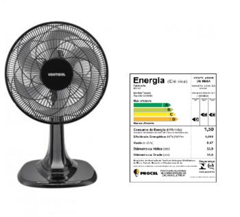 Ventilador de Mesa 30cm Ventisol Turbo 6Pás 127v 80w Preto Helice 6Pas Cinza - Controle de Velocidade - Ventilador se Adapta p/Parede