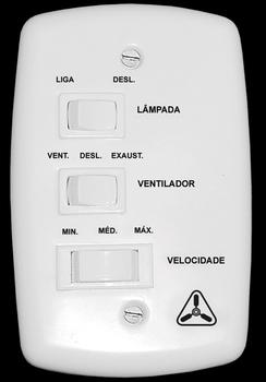 Chave para Ventilador de Teto Venti-Delta NEW LIGHT 127v07,5uF 3,0+4,5mF) 3Velocidades c/Reversão 1-Tecla p/Lux - Ventilador Latina -Ventilador Air De