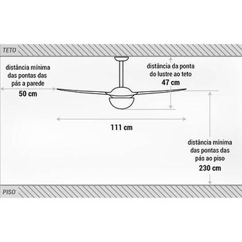 Ventilador de Teto Spirit 202 2Pás Cristal 127v c/Luminária p/2-Lâmpadas - Chave 3Velocidades