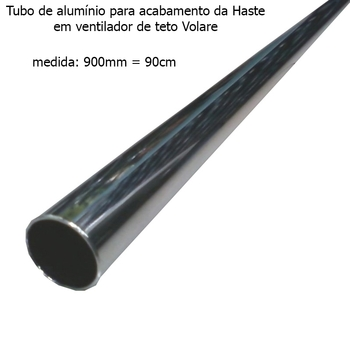 Acabamento Tubo de Alumínio do Ventilador de Teto VOLARE Cromado 90cm VLR