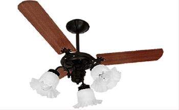Ventilador de Teto Beta Delta NL Preto com 3 Pás Retas de Madeira Mogno - 3 Tulipas Plásticas Flor