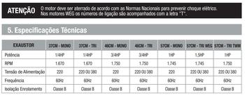 Exaustor Industrial para Serviço Pesado  57cm Ventisol Bivolts 110/220v Vazão 15.000m3/h - 8Pas em Metal