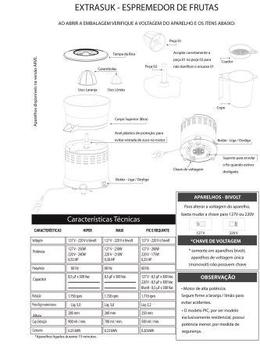 Espremedor de Frutas Loren Sid Extrasuk Requinte Vermelho Bivolts - Extrator de Suco - (OCP-0005 ABN