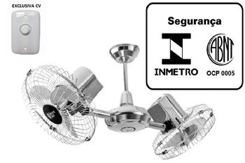 Ventilador de Teto Loren Sid Gemini- Duo 127v 130w Cromado - Ventilador Duplo - Chave Controle de Velocidade