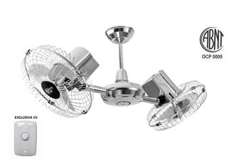 Ventilador de Teto Loren Sid Gemini- Duo 127v 130w Cromado - Ventilador Duplo com Chave Controle de Velocidade