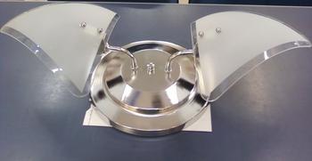 Luminária para Ventilador de Teto -  Modelo Arizona Plafon Cromado Vidro Borda Cristal 02 Lâmpadas -