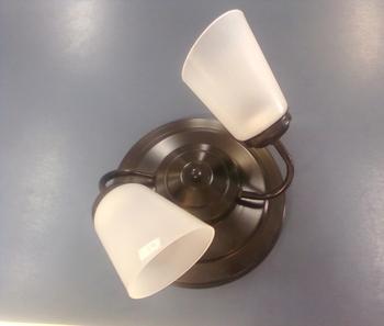 Luminária Plafon para Ventilador de Teto - Modelo Athenas Suporte em Metal Preto c/2Soquetes p/2Lâmpadas - SEM TULIPAS