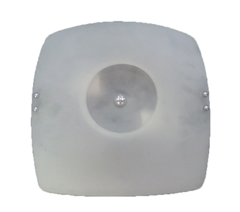 Luminária para Ventilador de Teto - Plafon Bruxelas Anti-Inseto Completo c/Suporte Preto Vidro Quadrado Fosco Maior e Vidro Menor