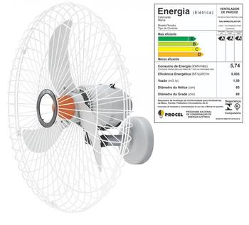 Ventilador de Parede 70cm Solaster Bivolts 150/270w - Chave com Controle de Velocidade - Veneza Plus