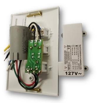 Chave para Ventilador Spirit 3Velocidades 127v09,0uF 3,0+6,0mF - Moderna Branca - Dimmer e Luz - Ven