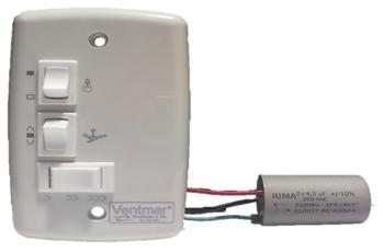 Chave para Ventilador de Teto 3Velocidades Capacitor 06,5uF 127v Liga 1 Lampada (2,0+4,5mF) - Chave