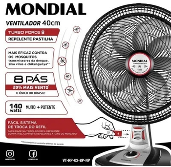 Ventilador de Mesa Mondial 40cm 127v 140w Turbo Force 8Pás VT-RP-02 Preto/Prata - Usar Pastilha Repe