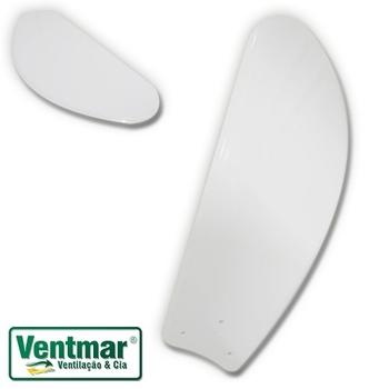 Pa Helice para Ventilador De Teto Venti-Delta Slim Clean New Light - ABS/Plástica Tubarão Branca - p/Garra Pequena c/3 Furos - Ventilador - Vendida p/