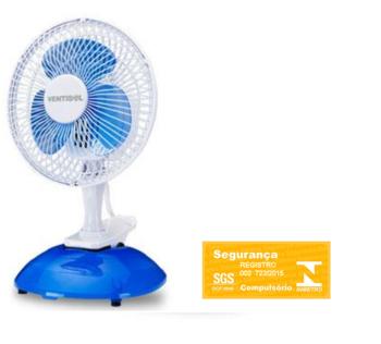 Ventilador De Mesa Ventisol Micro 20cm Mini 220v Branco - Hélice 3Pás Azul - MINI VENTILADOR PREMIUM - MINI 20CM