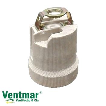 Soquete para Ventilador de Teto - Soquete de Porcelana com Suporte de Metal p/Fixar no Nipel para Ve