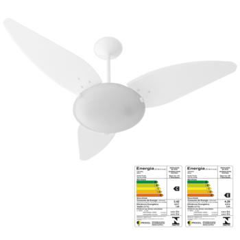 Ventilador de Teto Venti-Delta Magnes 127v10,0uF Branco 3Pás Folha Branca - Cúpula Plástica Fosca p/2 Lâmpadas - Chave 3Velocidades