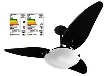 Ventilador de Teto Venti-Delta Magnes 127v10,0uF Preto 3Pás MDF Folha Preta - Cúpula Plástica Fosca p/2 Lâmpadas - Chave 3Velocidades