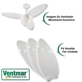 Pá Hélice para Ventilador de Teto Ventisol - Modelo Aires Plástica Branca - Ventilador Lumiar - Ventilador Prisma - Vendida p/Unidade