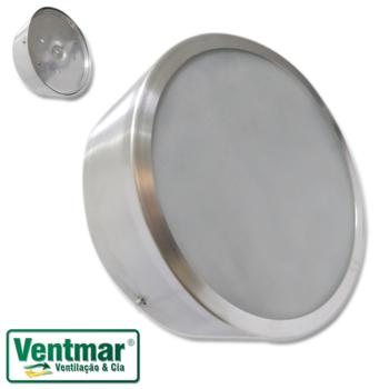 Luminária Plafon para Ventilador de Teto Ventisol Fharo - Alumínio Escovado c/Base Vidro Transparente c/2-Soquetes E27