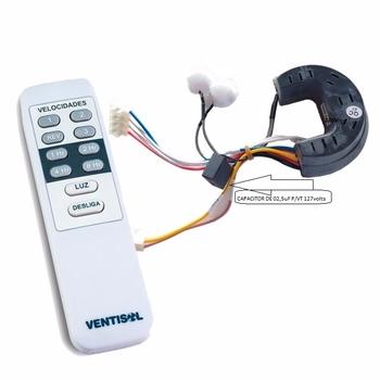 Controle Remoto para Ventilador de Teto VENTISOL 127v Infra - Kit c/Capacitor 02,5uF - c/Módulo Receptor+Módulo Transmissor