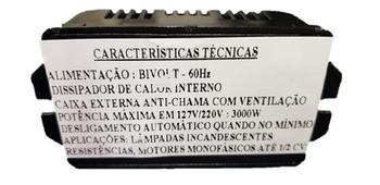 Chave para Exaustor - Controle de Velocidade Rotativo S/Off Bivolts 3.000Watts - Chave Controladora para Exaustor até 2000Watts