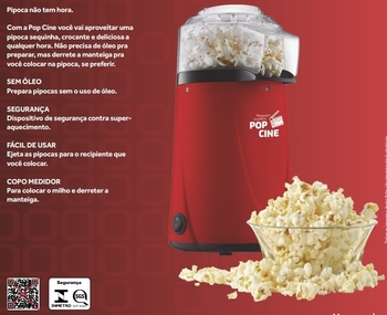 Pipoqueira Elétrica POP CINE 127v 1200w - Fazer Pipoca - Mr.Cheff Agratto - Pipoqueira Pop Cine Vermelha 1200W c/ dosador – Agratto PP