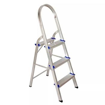 Escada de Alumínio 03 Degraus - Real Escadas - Escada Doméstica de Alumínio com Alça Longa para Melhor Apoio - Uso Residencial