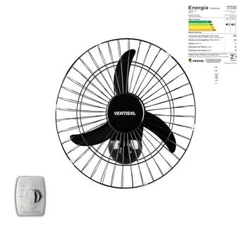 Ventilador De Parede 50cm Ventisol Bivolts 200w - Chave com Controle de Velocidade - Premium Preto G