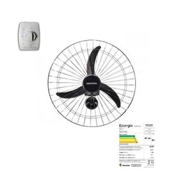 Ventilador de Parede 60cm Ventisol Bivolts 200w - Chave com Controle de Velocidade - Premium Preto G