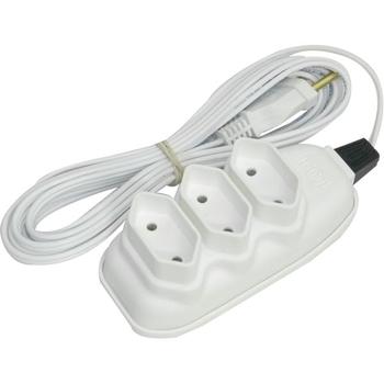 Extensão Elétrica Daneva Branca Plug Pino Macho 2Pinos 10A - 3Tomadas 2x0,75mm 3Metros