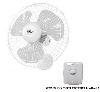 Ventilador de Parede 40cm Loren Sid 127v 135w - Chave com Controle de Velocidade - Turbo Branco Grad
