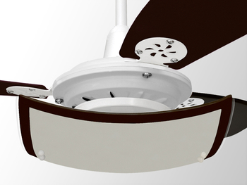 Luminária para Ventilador de Teto -  Modelo Agata Plafon Branco Vidro Leitoso Quadrado Borda Tabaco