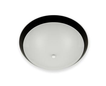 Luminária para Ventilador de Teto -  Modelo Cairo Plafon Branco Vidro Fosco Borda Preta 300mm - Furo