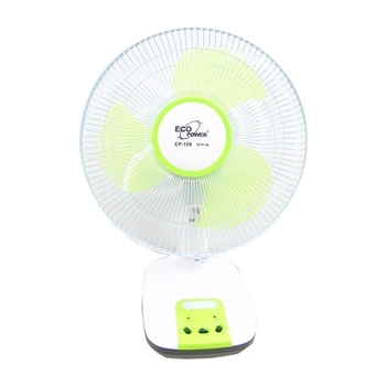 Ventilador de Mesa Recarregável Oscilante Bivolts 30cm Eco Power Verde - EP-109 c/Luz LED - Ventilad