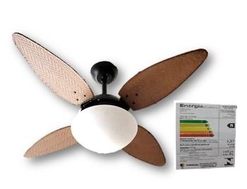 Ventilador de Teto Volare Nero 127v 10,5uF 4Pás Folha Ratan Palmae Tabaco Chave 3Velocidades