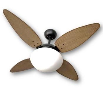 Ventilador de Teto Volare Nero 127v10,5uF 4Pás Folha Ratan Palmae Tabaco Chave 3Velocidades *LIQUIDAÇÃO-ÚLTIMA UNIDADE*